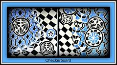 checkerboard blue (Poppie_60) Tags: atc pen drawings doodle tangle zentangle zendoodle ziazentangleinspiredart