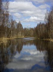 View From A Bridge (Steffe) Tags: park reflection clouds spring pond sweden haninge handen sltmossen hadtheniftyfiftylensmountedsothisisthreephotosstitchedtogether
