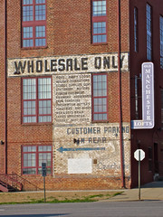 Wholesale Only, Richmond, VA (Robby Virus) Tags: old building brick sign wall manchester virginia apartment parking ghost richmond only customer lofts wholesale