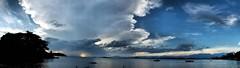 Choosing photos for an exhibition (pacatatu) Tags: sea clouds mar paquet nunvens