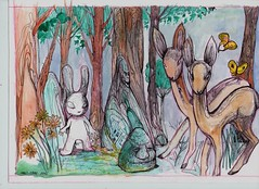 ALEISTER 236 MC1984 (mc1984) Tags: trees rabbit art ink flickr aquarelle forêt biches mc1984