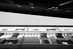 Lines (lorenzoviolone) Tags: windows blackandwhite bw italy roma monochrome facade buildings blackwhite reflex nikon lookingup dslr lazio overyourhead vsco d5200 nikkor18105mm nikond5200 vscofilm walk:rome=april2016