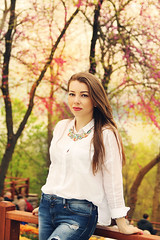 The spring beauty (Dasha May) Tags: pink flowers portrait girl face turkey spring istanbul emirgan
