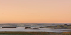 Morning Mist..... (johngregory250666) Tags: camera uk blue sky cloud mist lake holiday water field misty wall clouds rural sunrise reflections walking landscape outside photo nikon roman outdoor hiking walk centre border hike trail northumberland national serene inversion nikkor footpath hadrianswall hadrians chollerford imagesofengland hadrienswall cloudinverson