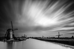 World Heritage Kinderdijk, the Netherlands (PhotoSolutions | pure photography) Tags: longexposure blackandwhite bw art mill water netherlands windmill morninglight fineart windmills le kinderdijk worldheritage tiltshift