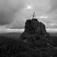 Cross, Silver Star Mountain, Washington (austin granger) Tags: rock death washington memorial cross symbol religion evidence columbiarivergorge silverstarmountain gf670 austingranger