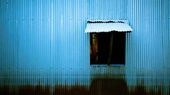 Window View (freebird) Tags: blue house window metal wall cambodia simple minimalistic corrugated kampuchea kampongchhnang