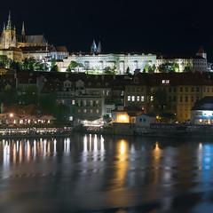 Prague - Night view (Alessandro Caproni) Tags: longexposure panorama reflection castle night river landscape nikon prague praha praga nightview d4 vitava nikond4 alessandrocaproni