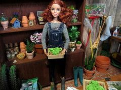 1. In the Greenhouse (Foxy Belle) Tags: doll barbie diorama greenhouse garden plant made move rebody redhead terriffic teal curly hair dollhouse miniature shed