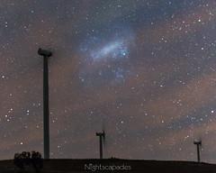 Magellanically mesmerised! (nightscapades) Tags: sky night stars au australia lakegeorge astrophotography newsouthwales astronomy canberra windfarm nightscapes turbines milkyway tarago galacticcore capitalwindfarm