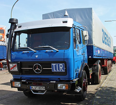 Mercedes semi truck (The Rubberbandman) Tags: old tractor classic truck vintage germany mercedes benz cargo semi lorry german transportation trailer wilhelmshaven lastwagen 1632 lkw laster sattelschlepper freught