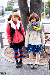 Harajuku Girls in Shibuya (tokyofashion) Tags: street cute stockings fashion japan scarf japanese tokyo colorful shibuya style skirt converse harajuku kawaii vest pigtails creepers hairstyle platforms 2012 streetfashion meijidori stripedsocks