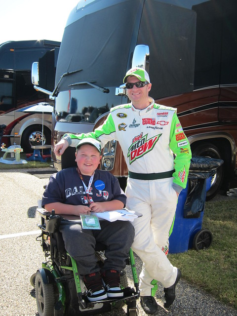 Dale Jr hanging out with a NASCAR Dreams child