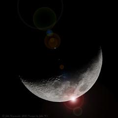 Moon, 32% of Full, 68% added flare :-) (Images by John 'K') Tags: moon lensflare flare johnk 50500mm waxingcrescent sigma50500mm d7000  johnkrzesinski randomok 32offull