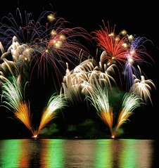 fireworks (dtsortanidis) Tags: carnival red sea sky orange reflection green water yellow festival night canon fire photography 50mm colours purple fireworks mark smoke ceremony greece event ii 5d 18 ef tutorial ending 2012 dimitris patras celabration dimitrios flickraward tsortanidis howtoshootfireworks