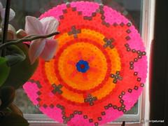 Hama Circle with fluorescent beads (petuniad) Tags: beads hama perler prlplattor hamabeads perlerbeads strijkkralen bgelperlen buegelperlen
