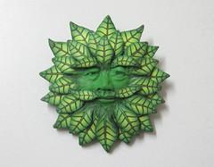 Green Man Brooch (PatsParaphernalia) Tags: sculpture folkart handmade traditional brooch jewellery polymerclay pagan greenman