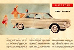 Family Takes their 1960 Corvair for a Picnic in the Sky (saltycotton) Tags: family chevrolet car vintage magazine children automobile gm picnic father contest ad mother husband advertisement transportation wife prize 1960s 1960 corvair generalmotors familycircle