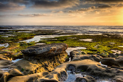 Low Tide La Jolla Sunset (Justin in SD) Tags: ocean california light sunset color green beach water pool rock canon coast moss highresolution rocks pacific dusk lajolla socal kelp beaches tidepools hdr goodlight canon60d