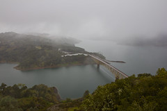 Lake Sonoma (sulakkalus) Tags: california bridge mist lake water rain fog landscape sonoma
