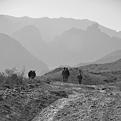 Marching from Nowhere to Nowhere (Le*Gluon) Tags: travel bw afghanistan border tajikistan d90 tadjikistan