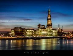 Turn on the lights, London (Beboy_photographies) Tags: blue sunset building london de soleil tour coucher bleu hour londres hdr immeuble coucherdesoleil heure slyline tamise clat theshard lclat