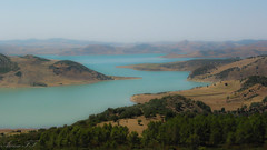 Morocco - The Blue Lake (aminefassi) Tags: africa bridge blue 2002 copyright mountain lake nature canon landscape northafrica explorer 14 lac powershot explore morocco maroc atlas maghreb match g2 chaouen chefchaouen chefchauen paysages barrage marokko rif chefchaoun afrique waterscape chauen afriquedunord maroko xauen morokko explored marueccos aminefassi xexauen