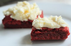 Red Velvet Brownies with White Chocolate Buttercream Frosting (WeeLittlePiggy) Tags: red food dessert valentine sweets brownie redvelvet