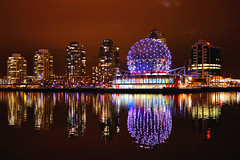 Vancouver Science World in Colors () Tags: city light canada motion building colors skyline night vancouver reflections bc nightshot general cloudy sony led za hdr olympicvillage scienceworld carlzeiss primelens falescreek emount sel24f18z sonynex5n thevillageonfalescreek carlzeiss24mmf18lens sonnart1824 2012illuminateyaletown sonnarte1824
