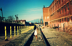"""you're waiting for a train"" (jimmay bones) Tags: woman train la losangeles nikon fm2"