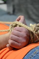 DSC_0196 (jakewolf21) Tags: work boots bondage rope jeans tied dakota hogtied