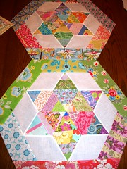 Scrappy Star Block (Dee'sDoodles) Tags: pink flowers blue red orange white green yellow diamonds star purple quilt quilting blocks scraps hexagons strips scrappy