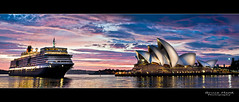 QE Cunard vs The Opera House (Bruce_Hood) Tags: cruise water clouds sunrise boat harbour sydney australia operahouse cunard queenelizabeth oceanliner