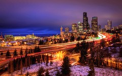 Magical Seattle from 12th Street Bridge (Fresnatic) Tags: seattle winter snow pacificnorthwest lighttrails washingtonstate hdr freeways seattlesnow interstates downtownseattle urbanskylines canonrebelxsi fresnatic photoshopcs5
