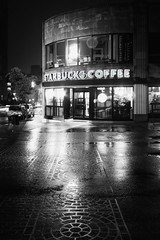 Starbucks Coffee (@archphotographr) Tags: street camera light bw detail reflection building wet coffee monochrome rain shop architecture night contrast corner lens us blackwhite store spring mood exterior contemporary patterns may entrance newengland coffeeshop places historic providence rhodeisland starbucks crosswalk copy streetscape thayer filmnoir collegehill thayerstreet starbuckscoffee efs1022mmf3545usm canoneos50d ©hassanbagheri