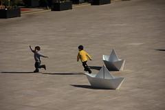 Running on Water (Lig Ynnek) Tags: africa paper boat kid origami run marrakesh