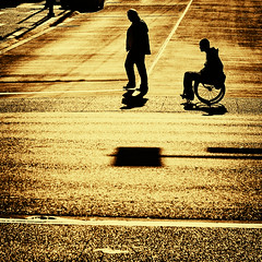 The road ahead is as long as you make it. Make it worth the trip. (. Jianwei .) Tags: road street old light shadow urban man station silhouette sign vancouver contrast gold waterfront candid wheelchair line stop 365   howest a500 jianwei kemily truthandillusion asquaresuperstarstemple