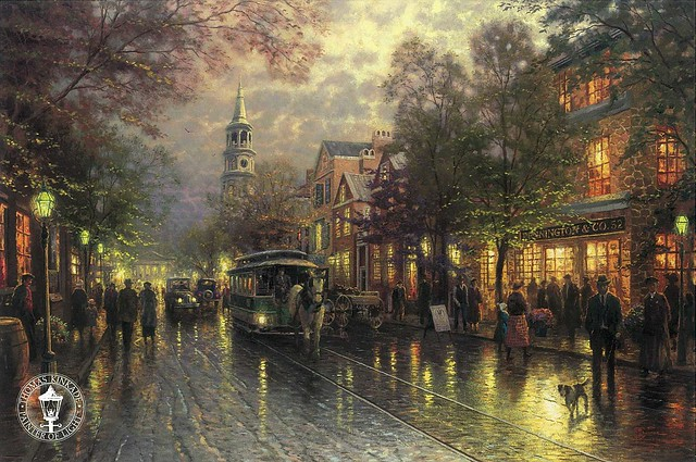THOMAS KINKADE - Evening on the Avenue