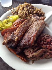 Papa Joe's BBQ - 3 meat plate (houstonfoodie) Tags: beans houston bbq barbecue ribs brisket