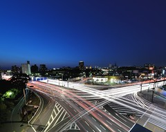 Blue hour (Shin-Nagoya) Tags: longexposure urban panorama japan night lowlight asia crossing dusk nagoya nightphoto bluehour  aichi  lighttrail lightstream urbannight explored carlighttrail afsnikkor1424mmf28g