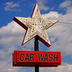 STAR CAR WASH (FotoEdge) Tags: sky water sign electric iron neon steel rusty bluesky carwash missouri glowing crusty blvd saintjoseph frederick stjoe fotoedge starcarwash travaglione midwestbob