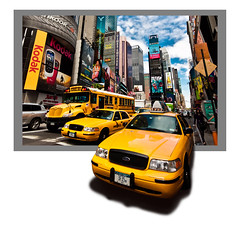 Hep, taxi! (Michel Couprie) Tags: street nyc usa newyork bus car photoshop canon buildings catchycolors eos manhattan taxi yellowcab sigma voiture timesquare frame 1020mm rue cadre postprocessing 450d