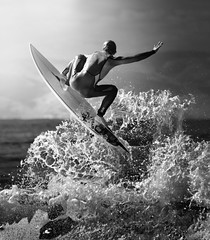 Splash Air (McSnowHammer) Tags: bw france ir surfer air wave hossegor surfing infrared pro splash 2012 quiksilver