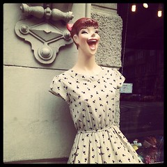 So happy to see you (badjonni) Tags: mannequin face shop square hilarious funny dress display squareformat brannan iphoneography instagramapp uploaded:by=instagram