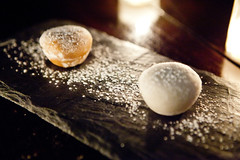 Chocolate & Black Sesame Mochi Ice Cream (thewanderingeater) Tags: nyc dinner manhattan tribeca kori koreancuisine korirestaurant