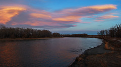 Bow River Twilight (LostMyHeadache: Absolutely Free *) Tags: trees sunset sky nature water field grass clouds canon reflections river evening spring twilight dusk silhouettes shore davidsmith calgaryalbertacanada eos60d