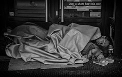 street sleeper (Daz Smith) Tags: door city uk sleeping portrait people urban blackandwhite bw dog man streets blancoynegro monochrome canon book blackwhite bed friend bath sleep candid citylife thecity streetphotography doorway asleep lyingdown canon6d dazsmith bathstreetphotography
