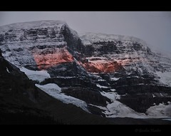highlight (Gordon Hunter) Tags: park morning trees light red cloud sun snow canada mountains cold ice nature rock stone sunrise rockies jasper glow natural centre rocky overcast center glacier national gordon alberta hunter wilderness discovery highlight athabasca icefield