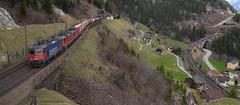 420 344-4 ,Re 4/4 11163 und Re 4/4 11343 (vsoe) Tags: railroad panorama mountain train schweiz switzerland swiss engine railway sbb berge bahn ch zge gotthard wassen sbbcargo