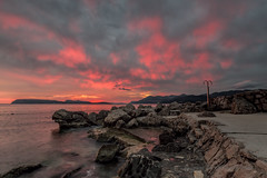 ALL ABLAZE (lynneberry57) Tags: sunset red sea seascape mountains water clouds canon rocks 70d leefilters